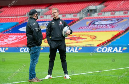 Salford's Kevin Brown (right) at Wembley during the side's captain's run.