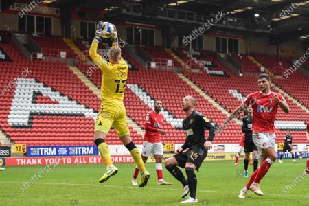 Ben Amos (13) of Charlton Athletic jumps high to catch the ball
