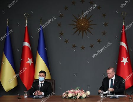 Ukraine's President Volodymyr Zelensky (L) and Turkish President Recep Tayyip Erdogan (R) attend singing ceremony after their meeting in Istanbul, Turkey, 16 October 2020. Turkey and Ukraine signed a military agreement including Turkey's Armed drones sales and technology transfer to Ukraine.