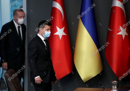 Ukraine's President Volodymyr Zelensky (R) and Turkish President Recep Tayyip Erdogan (L) arrive for a signing ceremony after their meeting in Istanbul, Turkey, 16 October 2020. Turkey and Ukraine signed a military agreement including Turkey's armed drones' sales and technology transfer to Ukraine.