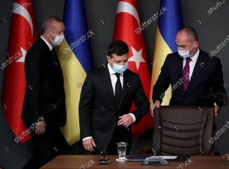 Ukraine's President Volodymyr Zelensky (C) and Turkish President Recep Tayyip Erdogan (L) attend a signing ceremony after their meeting in Istanbul, Turkey, 16 October 2020. Turkey and Ukraine signed a military agreement including Turkey's armed drones' sales and technology transfer to Ukraine.