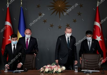 Ukraine's President Volodymyr Zelensky (L) and Turkish President Recep Tayyip Erdogan (2-R) attend a signing ceremony after their meeting in Istanbul, Turkey, 16 October 2020. Turkey and Ukraine signed a military agreement including Turkey's armed drones' sales and technology transfer to Ukraine.