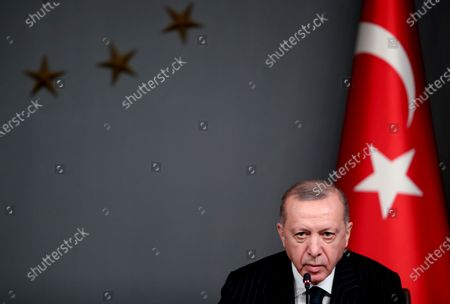 Turkish President Recep Tayyip Erdogan attends a signing ceremony with Ukraine's President after their meeting in Istanbul, Turkey, 16 October 2020. Turkey and Ukraine signed a military agreement including Turkey's armed drones' sales and technology transfer to Ukraine.