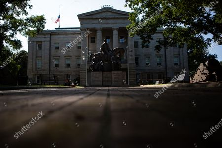 Outside the North Carolina state capitol building sits the Presidents North Carolina Gave the Nation Statue that features Andrew Jackson, James K. Polk, and Andrew Johnson on Tuesday, Sept. 22, 2020 in Raleigh, NC. (Jason Armond / Los Angeles Times)