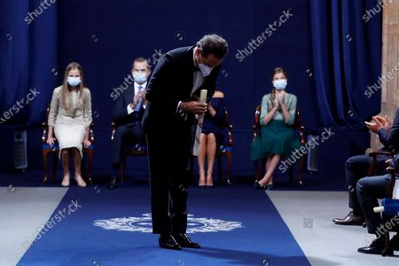 Andrea Morricone, son of recently deceased Italian composer Ennio Morricone, reacts after being presented the Princess of Asturias 2020 Award for Arts on behalf of his father and US composer John Williams, during the Princess of Asturias Awards 2020 ceremony held at La Reconquista Hotel in Oviedo, Spain, 16 October 2020.