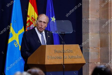 Stock Photo of The president of Princess of Asturias Foundation, Luis Fernandez Vega, delivers a speech during the Princess of Asturias Awards 2020 ceremony held at La Reconquista Hotel in Oviedo, Spain, 16 October 2020.
