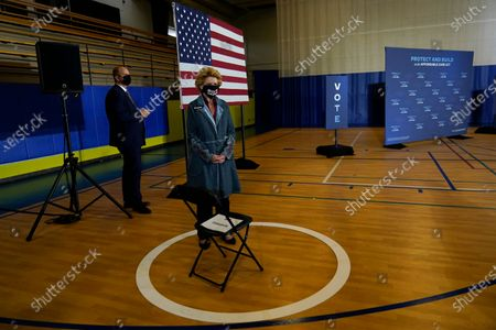Sen. Debbie Stabenow, D-Mich., arrives for an event with Democratic presidential candidate former Vice President Joe Biden at Beech Woods Recreation Center, in Southfield, Mich