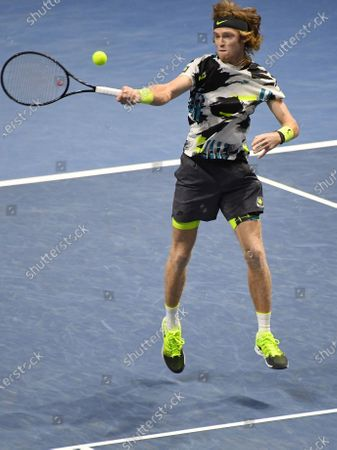 "Stock Photo of XXV International tennis tournament ATP St. Petersburg Open 2020 at the sports complex ""Sibur Arena"". Russian tennis player Andrei Rublev during a match with British tennis player Cameron Norrie."