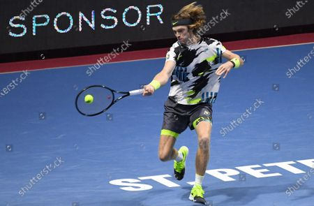 "Stock Image of XXV International tennis tournament ATP St. Petersburg Open 2020 at the sports complex ""Sibur Arena"". Russian tennis player Andrei Rublev during a match with British tennis player Cameron Norrie."