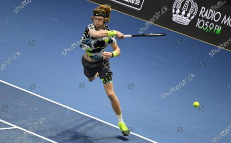 "XXV International tennis tournament ATP St. Petersburg Open 2020 at the sports complex ""Sibur Arena"". Russian tennis player Andrei Rublev during a match with British tennis player Cameron Norrie."