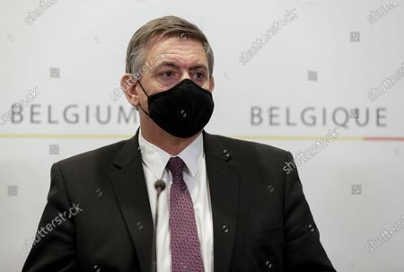 Stock Picture of Belgium Flemish Minister-President Jan Jambon holds a news conference after a committee to discuss new restrictive measures after a spike of coronavirus disease (COVID-19) infections in the country, in Brussels, Belgium, 16 October 2020.