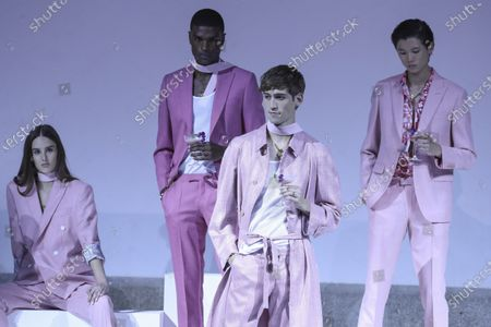 Models present creations by Portuguese designer Miguel Vieira during the Portugal Fashion show in Porto, Portugal, 16 October 2020. Spring/Summer 2021 collections are presented at the 47th Portugal Fashion until 17 October.
