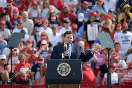 Stock Image of Florida Gov. Ron DeSantis speaks before President Donald Trump during a campaign rally at the Ocala International Airport, in Ocala, Fla