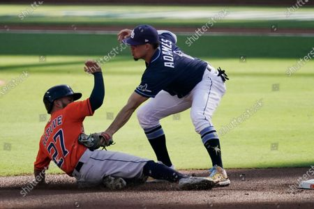Houston Astros' Jose Altuve is caught stealing by Tampa Bay Rays shortstop Willy Adames during the first inning in Game 6 of a baseball American League Championship Series, in San Diego