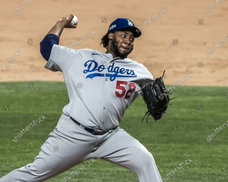 Los Angeles Dodgers relief pitcher Pedro Baez throws in the sixth inning of the MLB National League Championship Series baseball game five between the Los Angeles Dodgers and the Atlanta Braves at Globe Life Field in Arlington, Texas, USA, 16 October 2020.