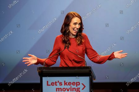 New Zealand Prime Minister Jacinda Ardern speaks at the New Zealand Labour party election night event in Auckland, New Zealand, 17 October 2020. Jacinda Ardern has won a second term in New Zealand's general election.