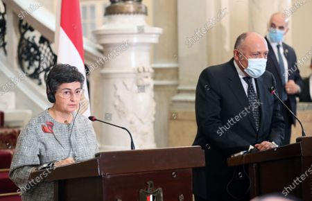Spanish Foreign Minister Arancha Gonzalez Laya and Egyptian Foreign Minister Sameh Shoukry during a press conference after their meeting at the Tahrir Palace in Cairo, Egypt on 17 October 2020.  Gonzalez Laya is on a two-day official visit to Egypt.