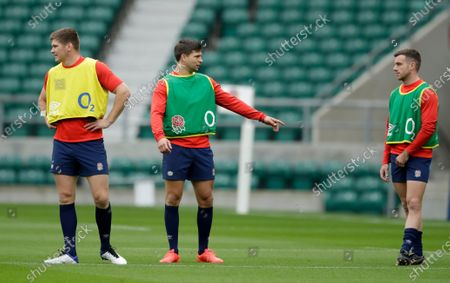 England's Owen Farrell, Ben Youngs and George Ford, from left, during an England rugby team training session at Twickenham in London, Saturday, Oct.17, 2020. England are preparing for a series of matches including the finish of the Six Nations championship which was interrupted earlier in the year because of the coronavirus outbreak