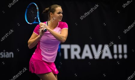 Jana Cepelova of Slovakia in action during the first qualifications round at the 2020 J&T Banka Ostrava Open WTA Premier tennis tournament
