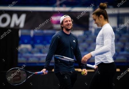 Tom Hill during practice with Maria Sakkarri at the 2020 J&T Banka Ostrava Open WTA Premier tennis tournament