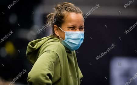 Barbora Strycova of the Czech Republic during practice at the 2020 J&T Banka Ostrava Open WTA Premier tennis tournament