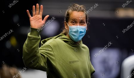 Stock Image of Barbora Strycova of the Czech Republic during practice at the 2020 J&T Banka Ostrava Open WTA Premier tennis tournament