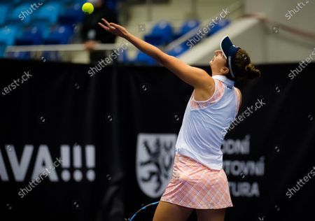 Irina-Camelia Begu of Romania in action during the second qualifications round at the 2020 J&T Banka Ostrava Open WTA Premier tennis tournament