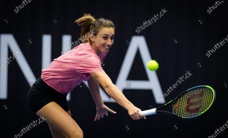 Stock Image of Petra Martic of Croatia during practice at the 2020 J&T Banka Ostrava Open WTA Premier tennis tournament