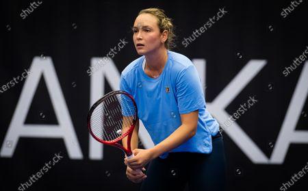 Donna Vekic of Croatia during practice at the 2020 J&T Banka Ostrava Open WTA Premier tennis tournament