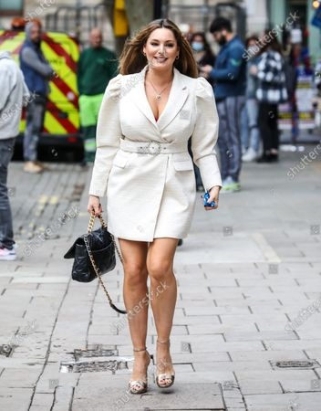 Kelly Brook arrives at The Global Radio Studios In London.