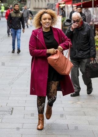 Pandora Christie seen departing The Global Radio Studios In London