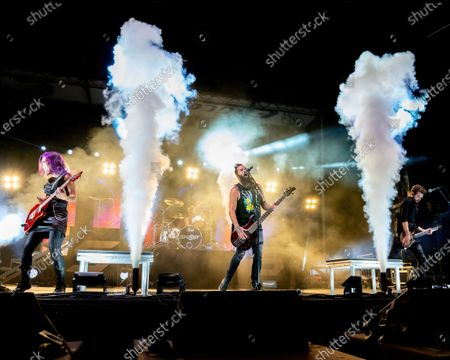 Korey Cooker, Jen Ledger, John Cooper, and Seth Morrison of Skillet perform in concert as part of the Tailgate Series at H-E-B Center at Cedar Park on October 10, 2020 in Cedar Park, Texas.
