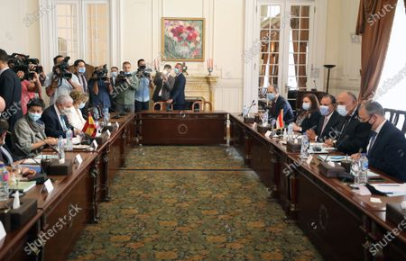 Egyptian Foreign Minister Sameh Shoukry (2-R)  meets with Spanish Foreign Minister Arancha Gonzalez Laya (L) at the Tahrir Palace in Cairo, Egypt, 17 October 2020.  Gonzalez Laya is on a two-day official visit in Egypt.