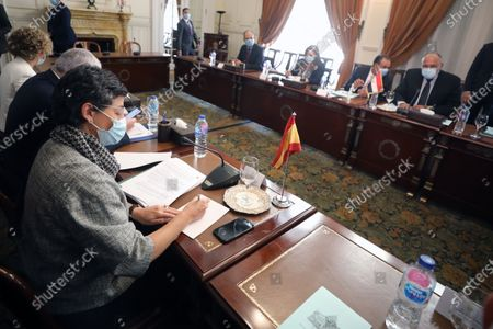 Egyptian Foreign Minister Sameh Shoukry (R)  meets with Spanish Foreign Minister Arancha Gonzalez Laya (L) at the Tahrir Palace in Cairo, Egypt, 17 October 2020.  Gonzalez Laya is on a two-day official visit in Egypt.