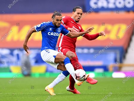 Dominic Calvert-Lewin of Everton (L) in action against Virgil van Dijk of Liverpool (R) during the English Premier League match between Everton and Liverpool in Liverpool, Britain, 17 October 2020.
