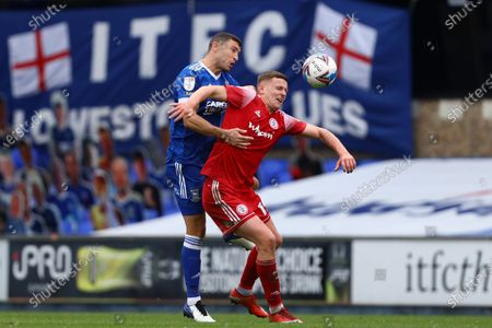 James Wilson of Ipswich Town battles with Colby Bishop of Accrington Stanley - Ipswich Town v Accrington Stanley, Sky Bet League One, Portman Road, Ipswich, UK - 17th October 2020