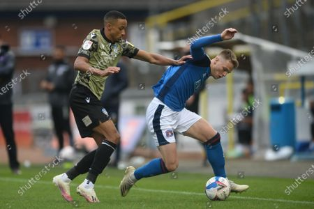 Stock Image of Cohen Bramall of Colchester United does battle with George Tanner of Carlisle United - Carlisle United v Colchester United, Sky Bet League Two, Brunton Park, Carlisle, UK - 17th October 2020Editorial Use Only - DataCo restrictions apply