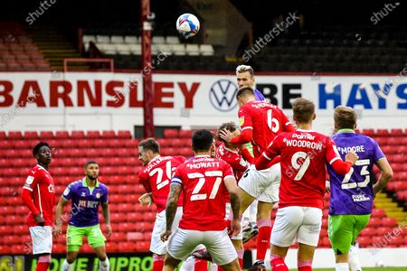 Andreas Weimann of Bristol City heads wide of the goal