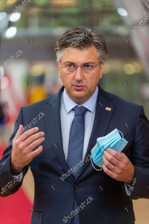 Croatian Prime Minister Andrej Plenkovic arrives for the second day meeting of the EU summit in Brussels, Belgium, on Oct. 16, 2020. The European Council concluded its 2-day summit on Friday afternoon.