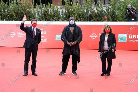 Steve McQueen, Antonio Monda and Laura Delli Colli on Red carpet of the second day of the Rome Film Festival