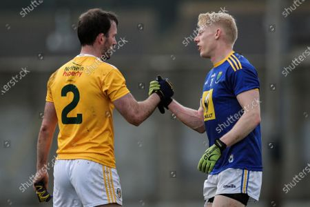Wicklow vs Antrim. Antrim's Patrick Gallagher and Mark Kenny of Wicklow after the game