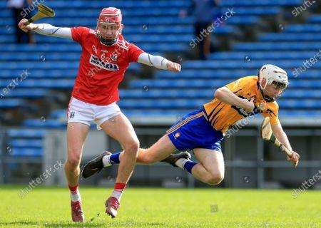 Clare vs Cork. Cork's Ben O'Connor tackles James Doherty of Clare