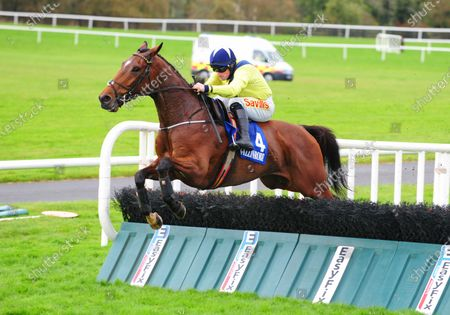BALLINROBE. KING ALEX and Sean Flanagan jump the last to win The Donnelly's Of Barna Maiden Hurdle. Healy Racing