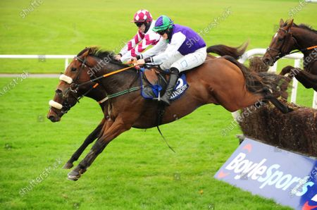 Stock Image of BALLINROBE. RUBEN JAMES and Ryan Treacy (near) jump the last to win The P & D Lydon Rated Novice Steeplechase. Healy Racing