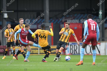 Bournemouth loanee Frank Vincent (23) of Scunthorpe United shoots at goal during the EFL Sky Bet League 2 match between Scunthorpe United and Cambridge United at Glanford Park, Scunthorpe