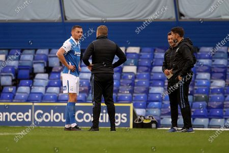 BIRMINGHAM CITY'S Harlee Dean TALKS TO EX BIRMINGHAM BOSS Sheffield Wednesday Manager Garry Monk during the EFL Sky Bet League 2 match between Walsall and Colchester United at the Banks's Stadium, Walsall