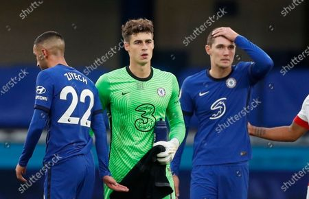 Chelsea's Hakim Ziyech, left, Kepa Arrizabalaga, center, and Andreas Christensen appear dejected after the the English Premier League soccer match between Southampton and Chelsea at the Stamford Bridge in London, England