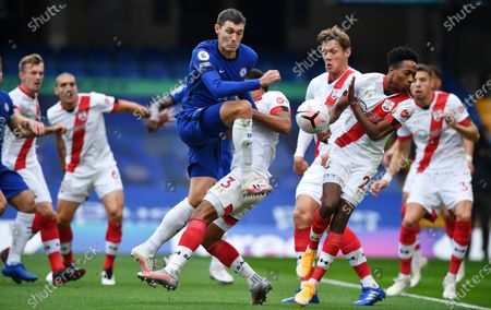 Andreas Christensen (C) of Chelsea in action during the English Premier League match between Chelsea and Southampton in London, Britain, 17 October 2020.