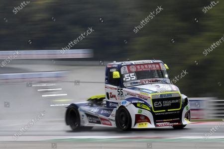 Czech driver Adam Lacko of the Buggyra Zero Mileage Racing is on his way to win the Hungarian stage of the FIA European Truck Racing Championships on the Hungaroring circuit in Mogyorod, Hungary, 17 October 2020.