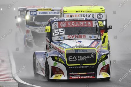 Czech driver Adam Lacko (front) of the Buggyra Zero Mileage Racing is on his way to win the Hungarian stage of the FIA European Truck Racing Championships on the Hungaroring circuit in Mogyorod, Hungary, 17 October 2020.